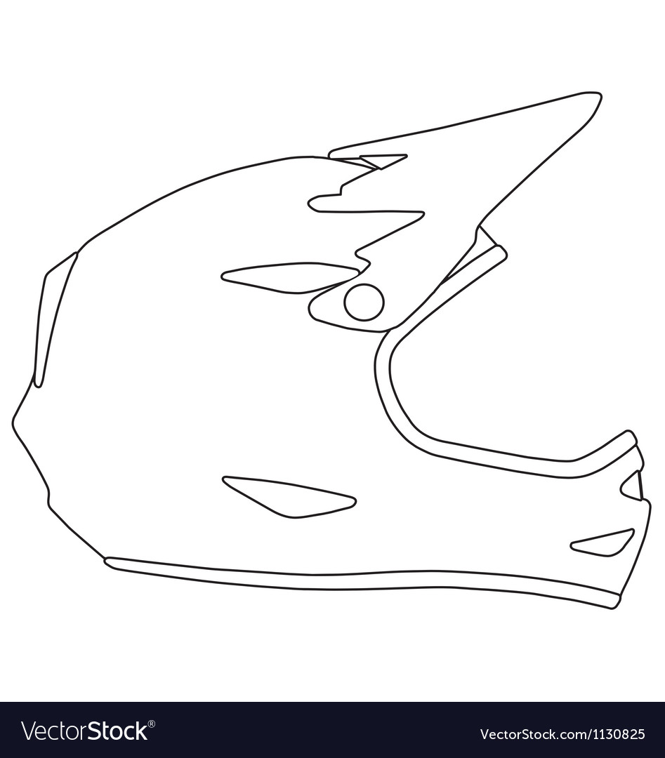 Downhill Mountain Biking Full Face Helmet Vector Image