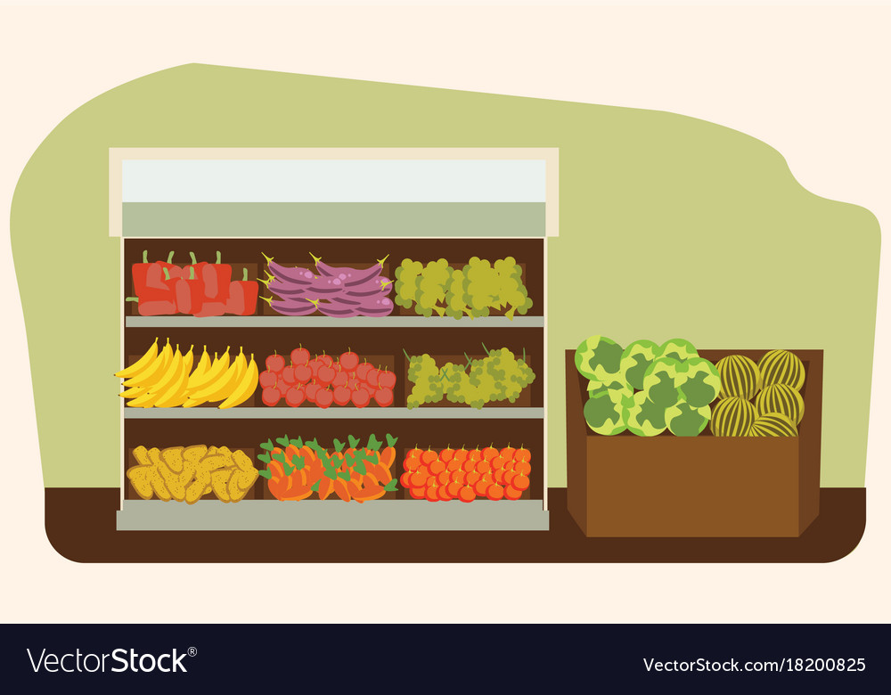 Fruit and vegetables shelf with fresh healthy food