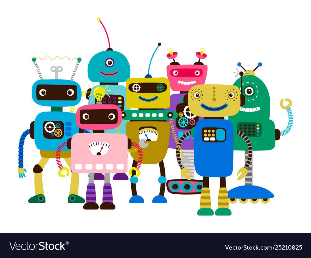 Group cartoon character robots