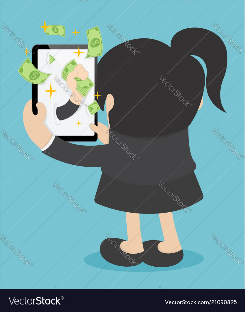 Happy business woman money make money online