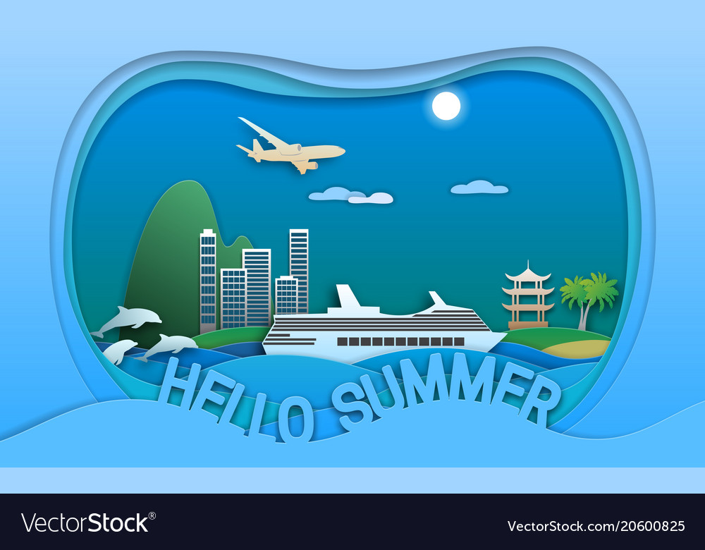 Hello summer in paper cut style sea