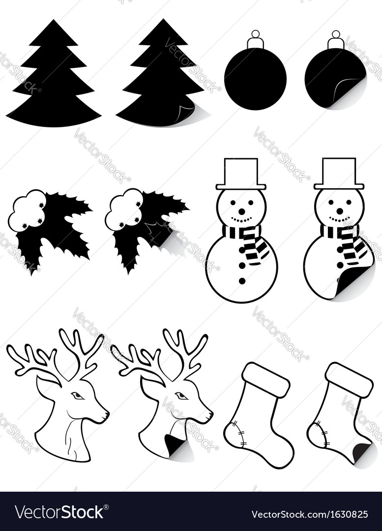 icons labels for christmas and new year black and vector image