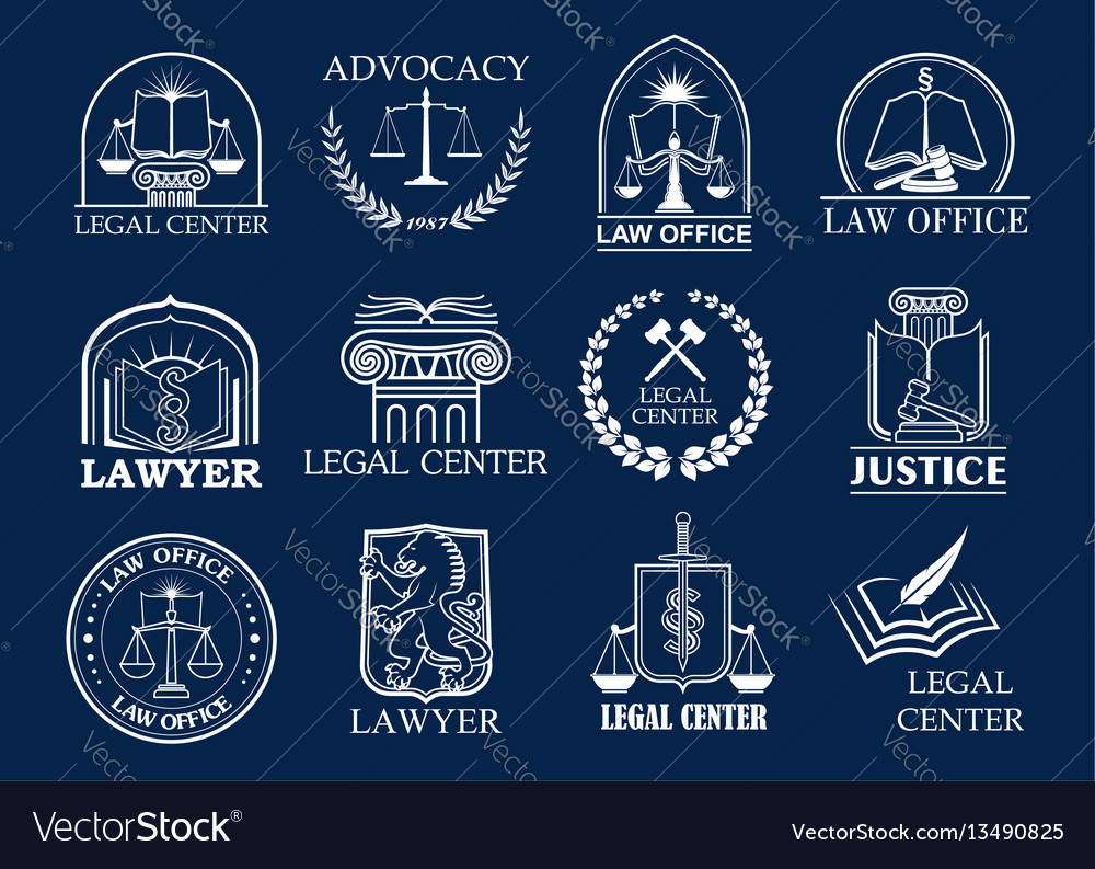 Law firm legal center and lawyer office badge set vector image