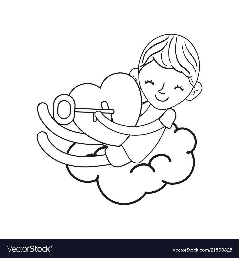 Line Sleeping Boy With Heart Padlock And Key Vector Image