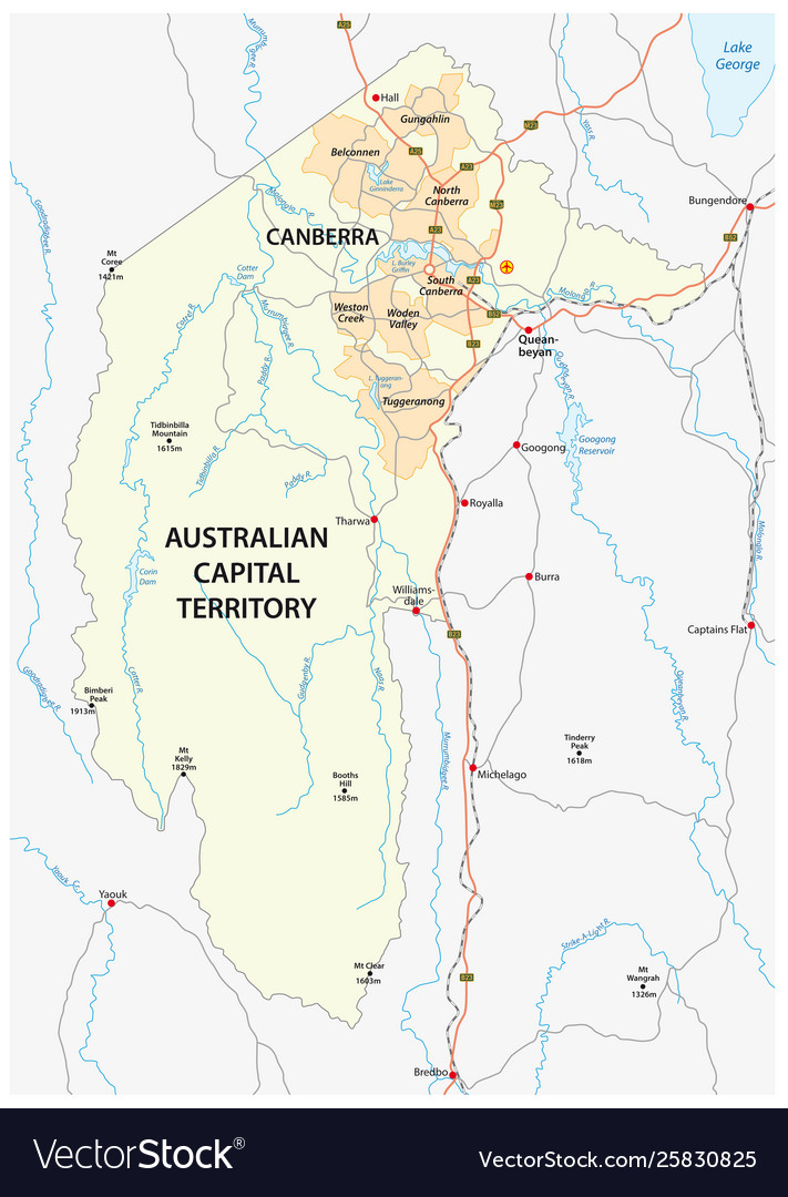 Australia Map Canberra.Map Atc And Canberra Map Australia Vector Image