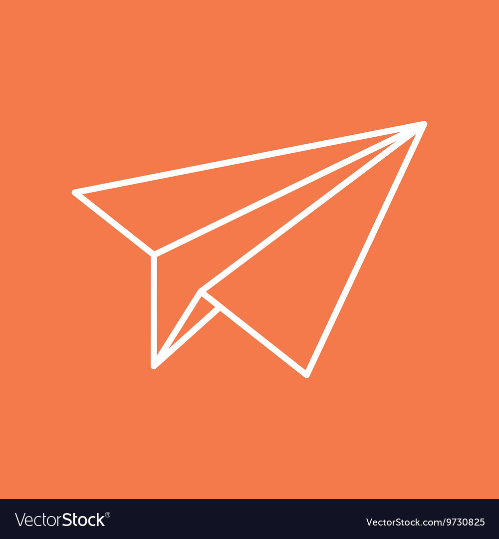 Paper Plane Thin Line Icon Origami Airplane Vector Image