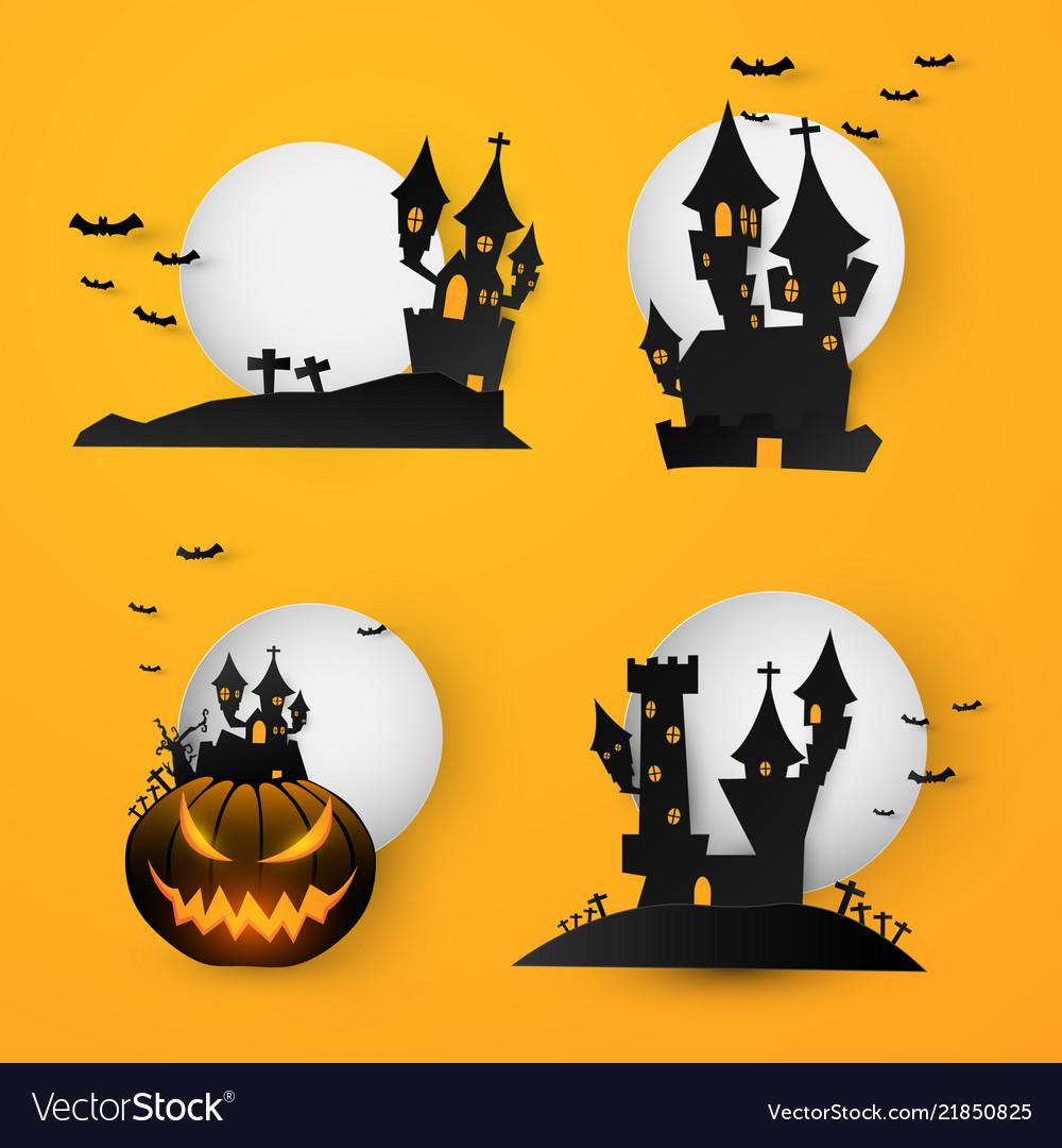 Set castle halloween text banner background paper