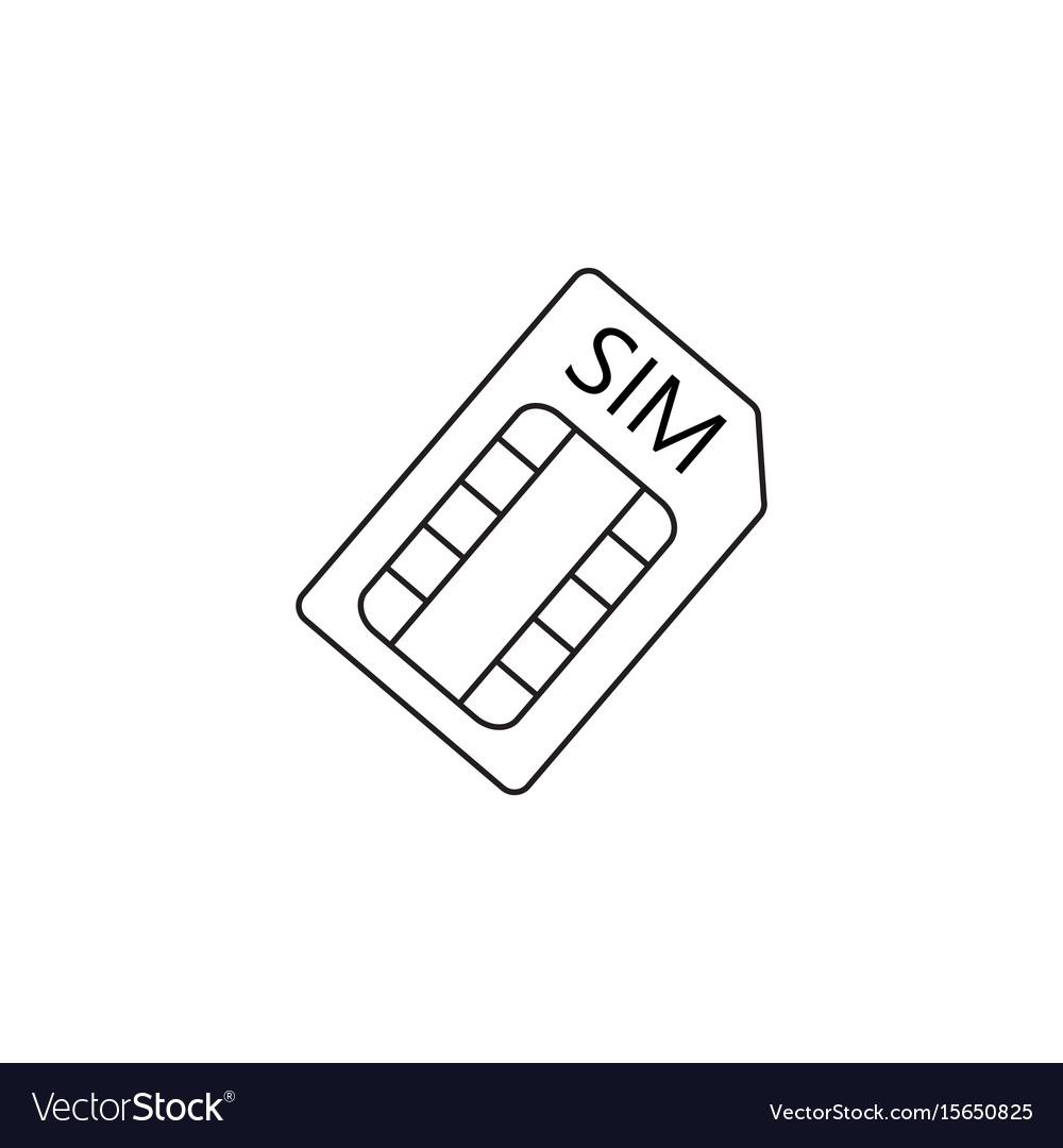 Sim card line icon outline logo