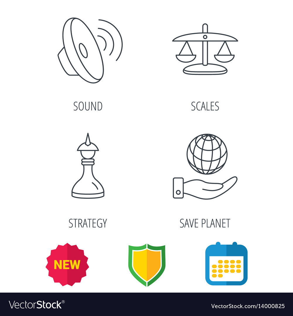 Strategy sound and scales of justice icons vector image