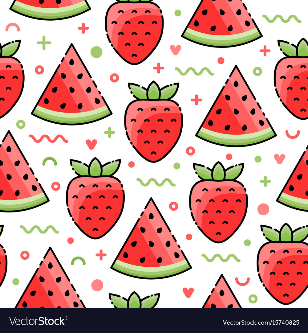 Watermelon strawberry seamless pattern