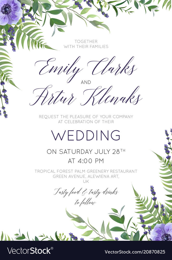 Wedding floral invite card with flowers