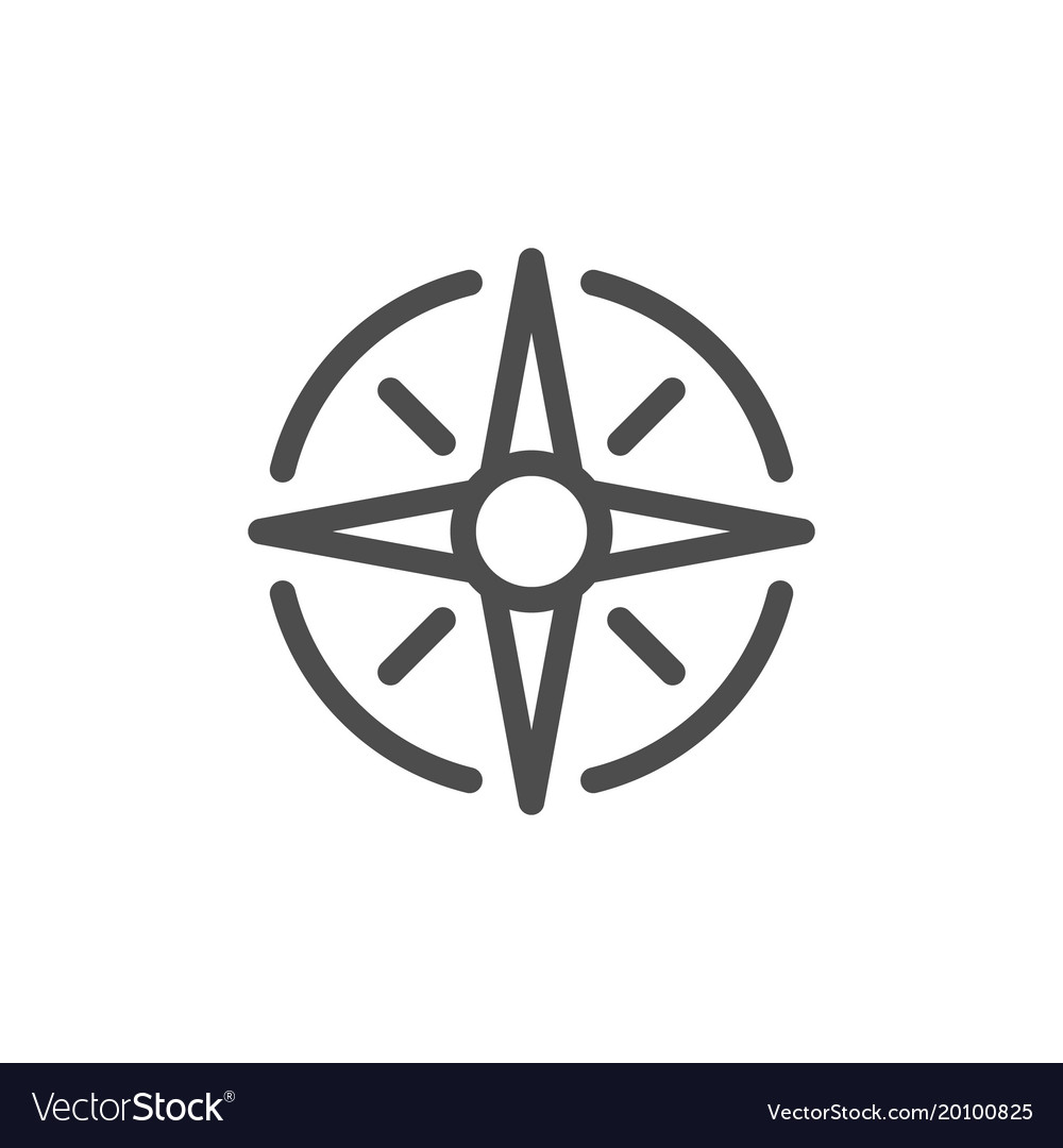 Wind rose line icon