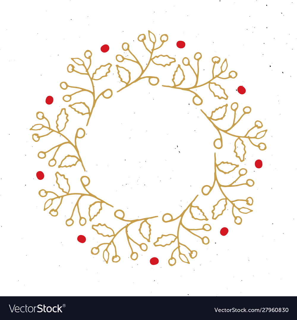 Christmas wreath round frames set hand drawn