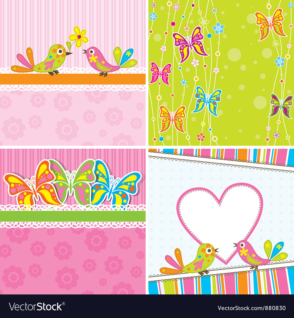 Cute Scrapbook Butterfly Backgrounds Royalty Free Vector