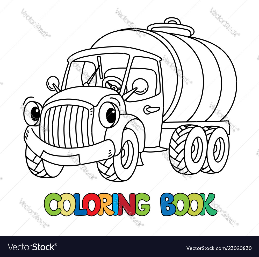 Funny small milk truck with eyes coloring book