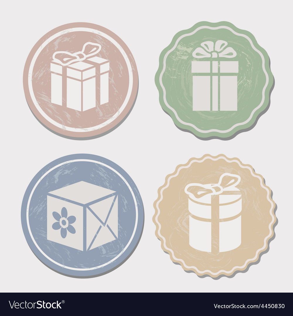 Gift box icon set different vintage styles