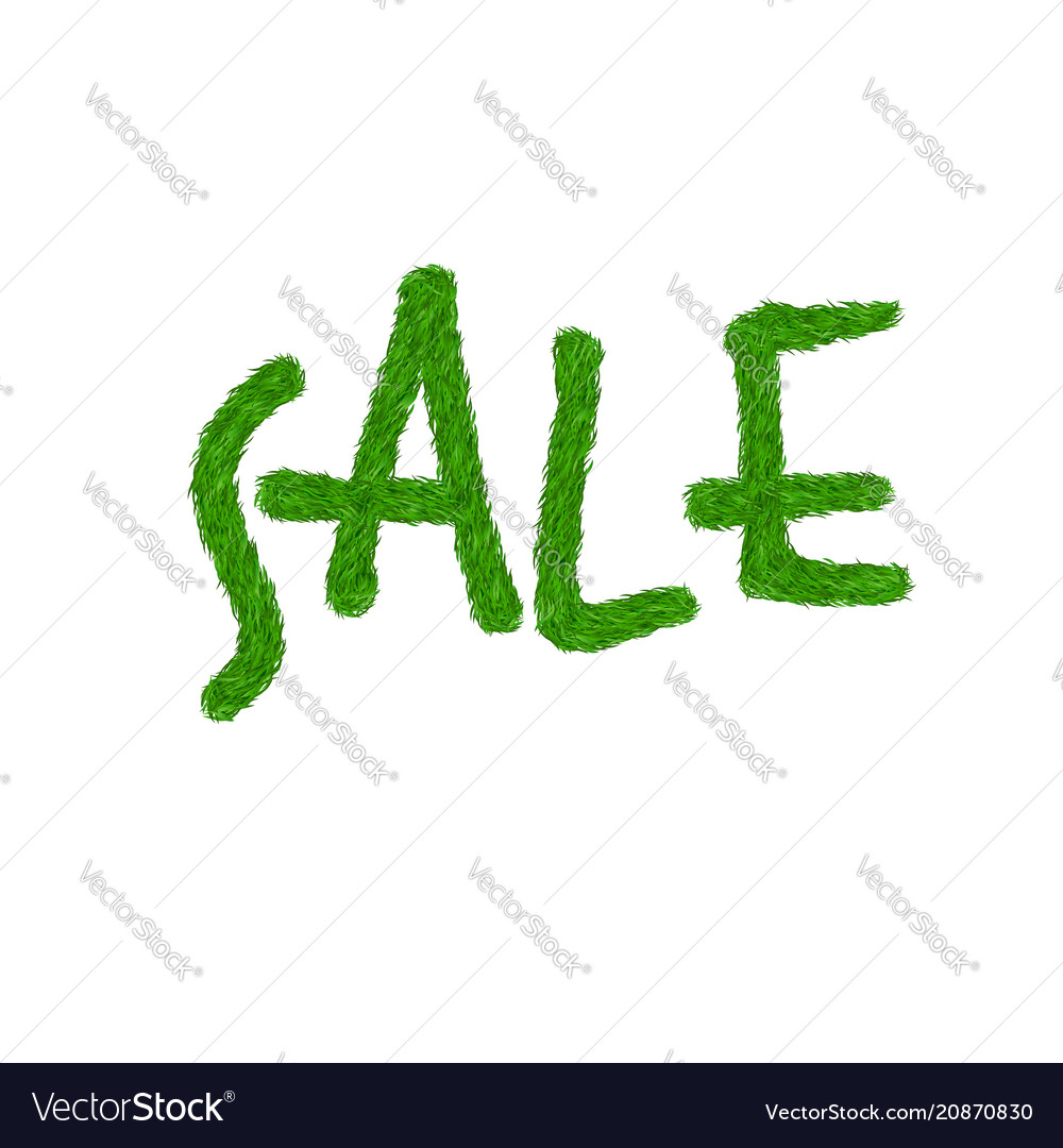 Green grass sale text isolated white background