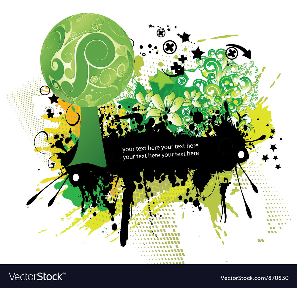 Grunge floral frame