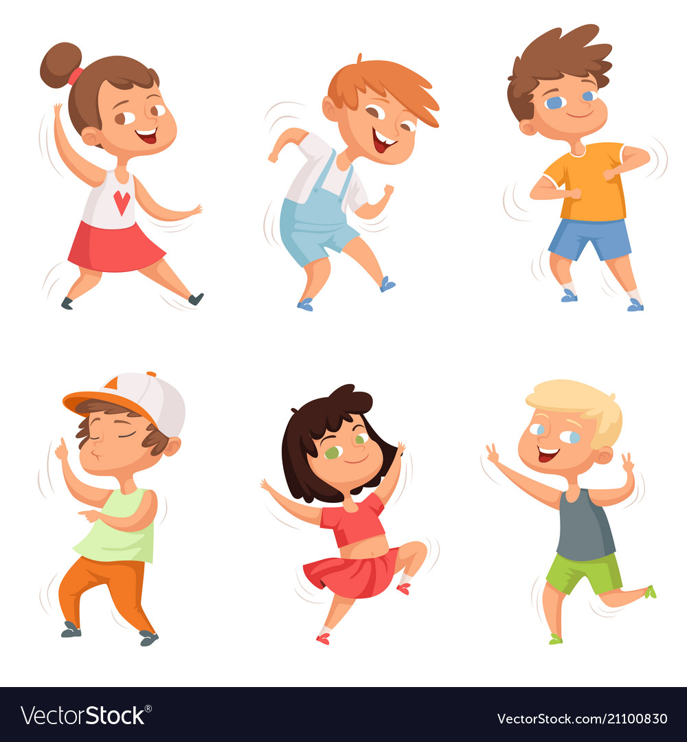 Happy childhood various funny dancing kids vector image