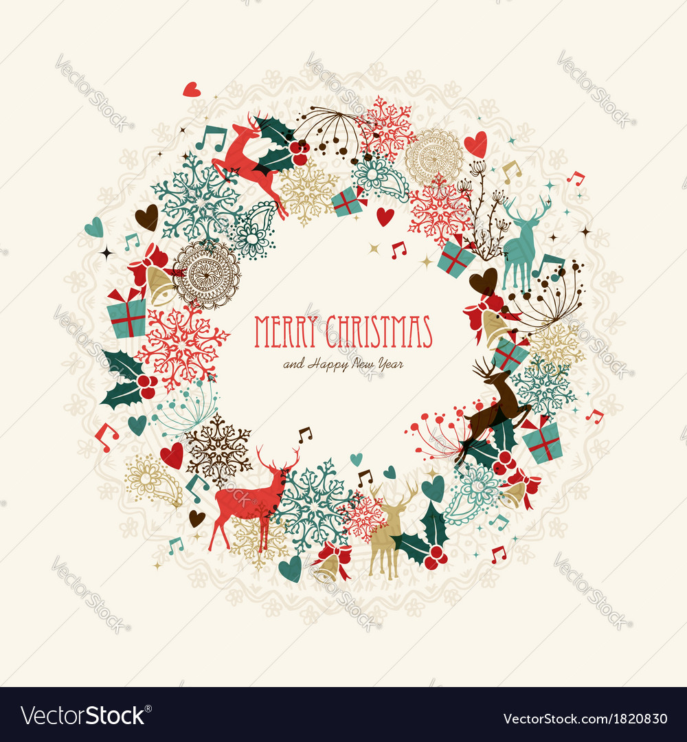 merry christmas vintage wreath card vector image
