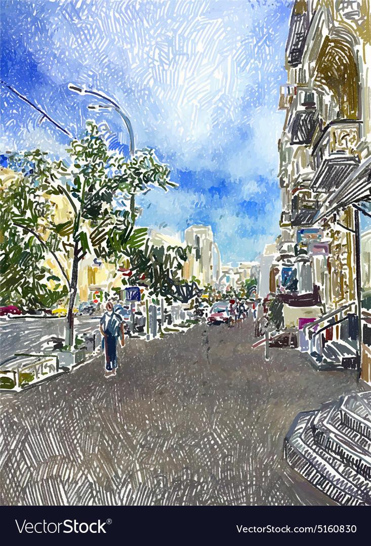 Original digital drawing of Kyiv city street