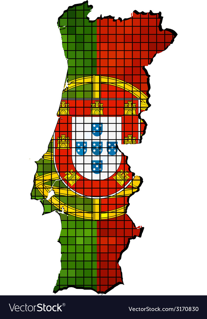 Portugal map with flag inside