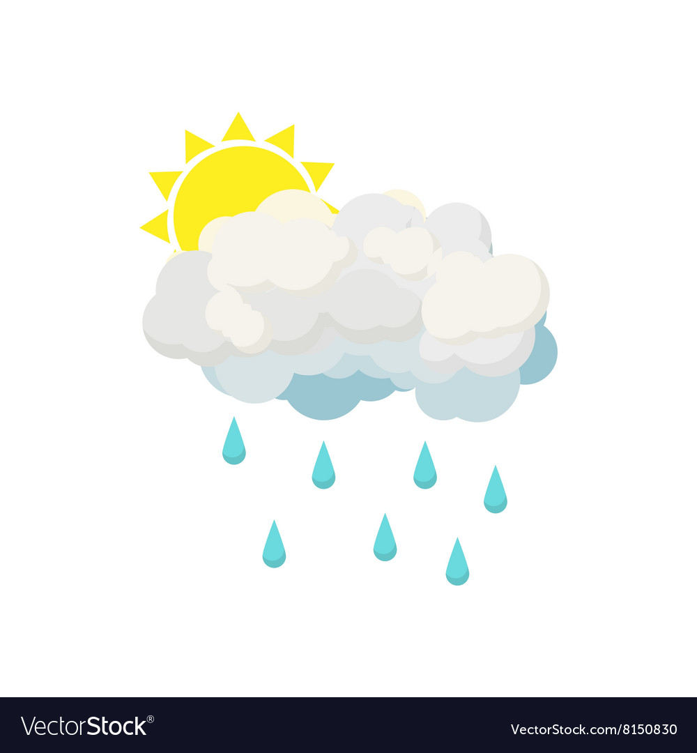 Rain cloud and sun icon cartoon style