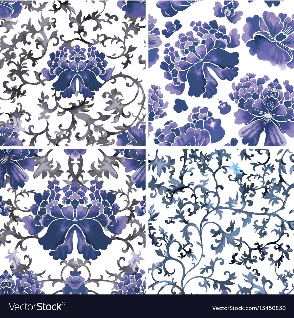Seamless chinese pattern watercolor style
