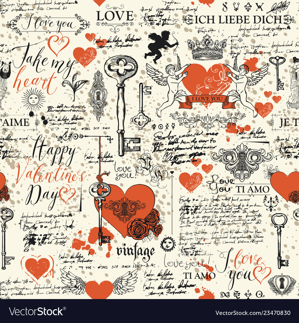 Seamless pattern on theme valentines day
