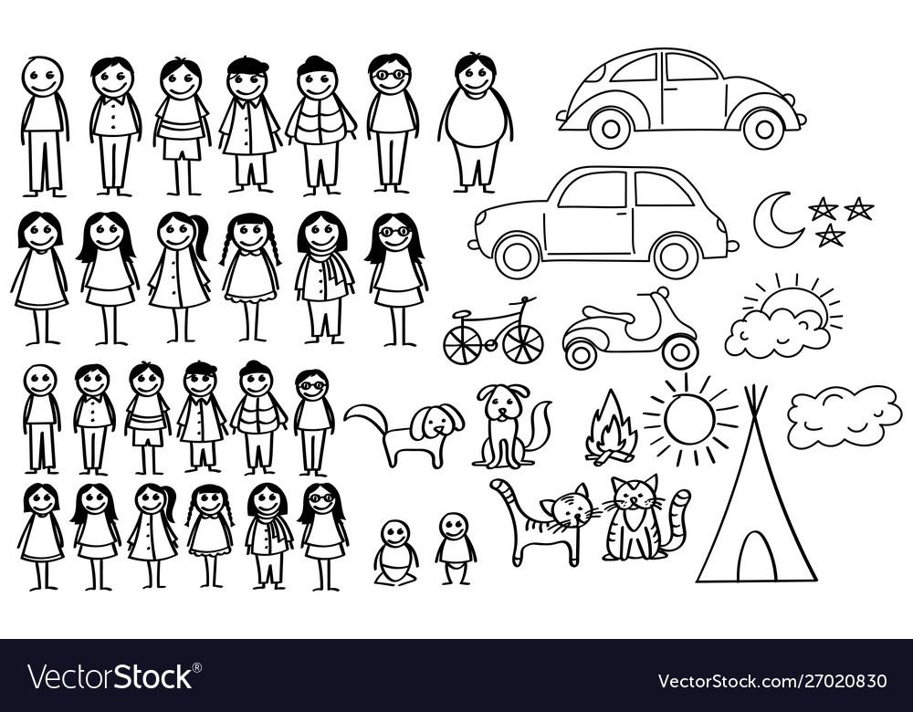 Set happy cartoon doodle figure family stick