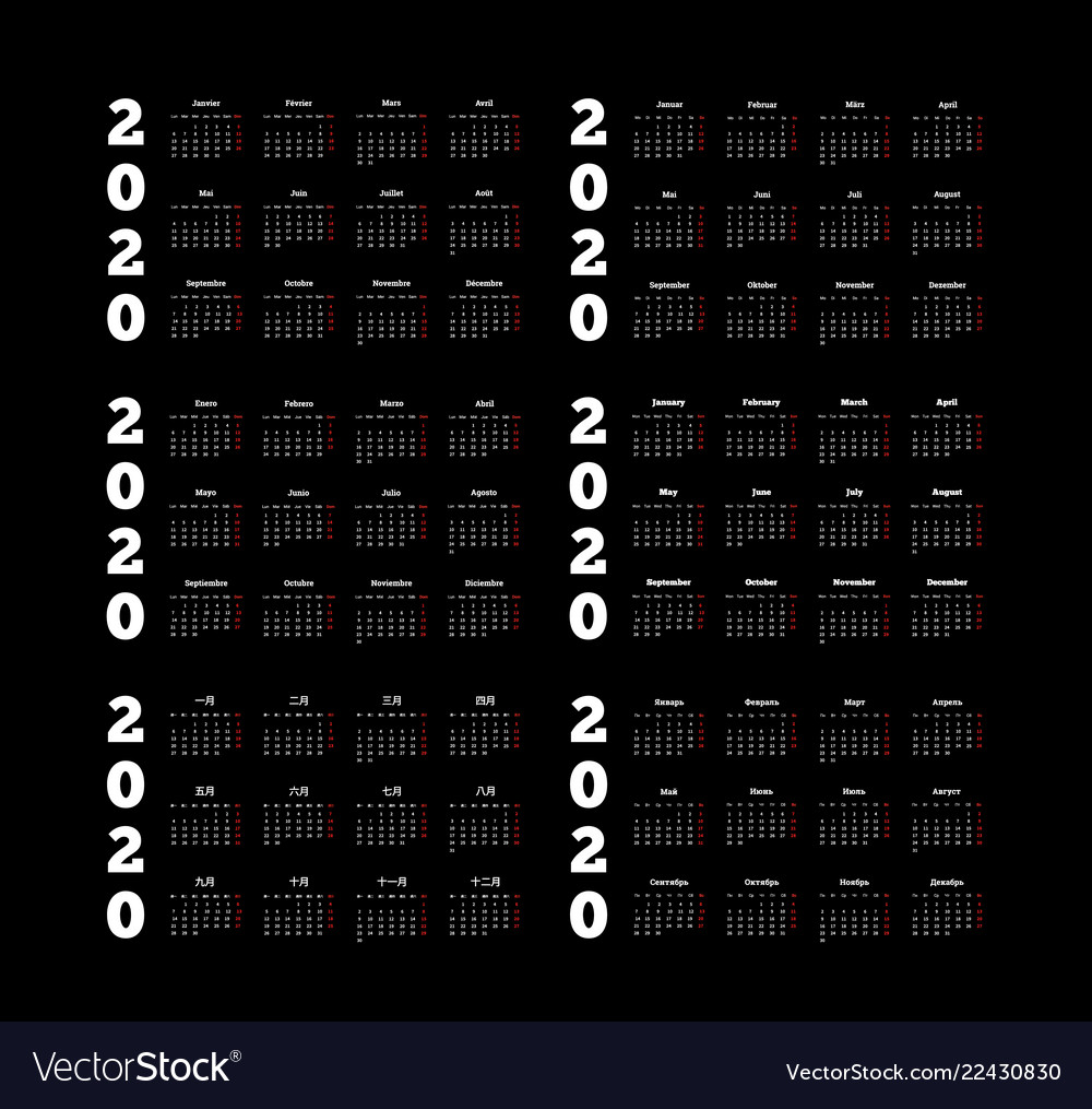 Set of 2020 year simple calendars on different