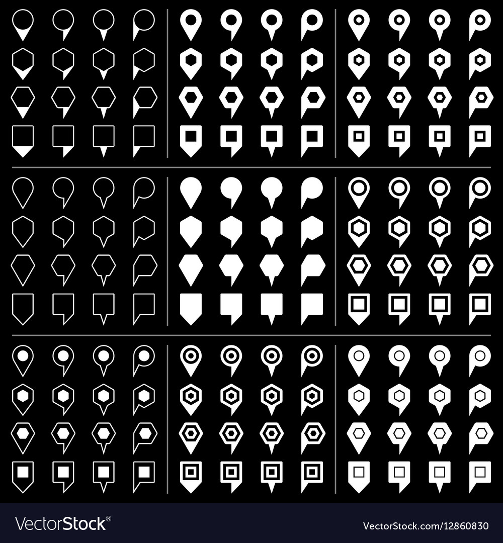 White map pins sign icon on black background