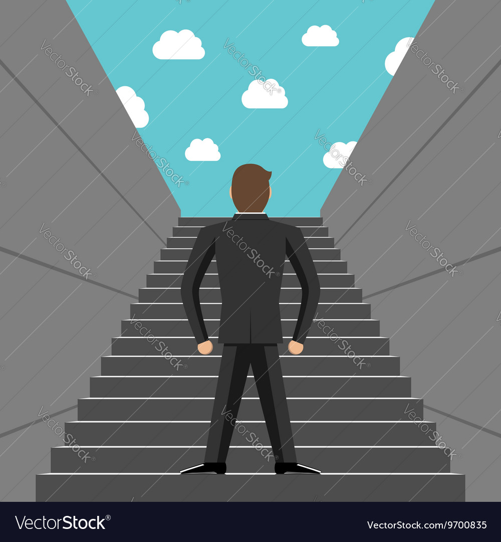 ambitious businessman climbing steps royalty free vector