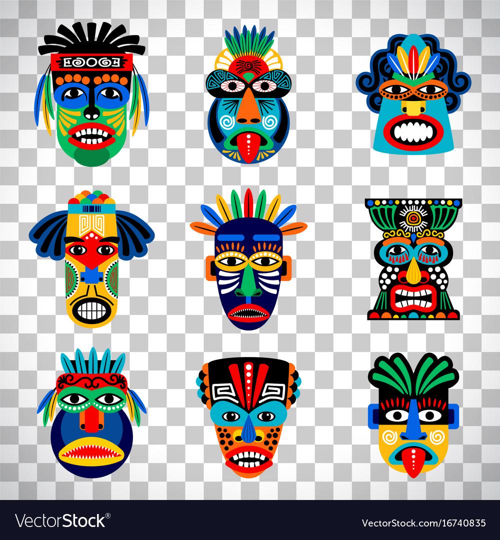 Aztec mask set on transparent background