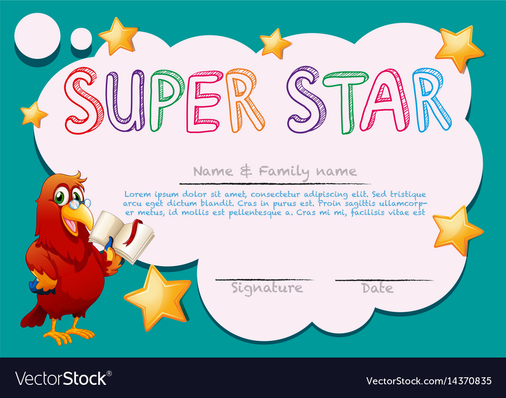 Certificate Template For Super Star Vector Image