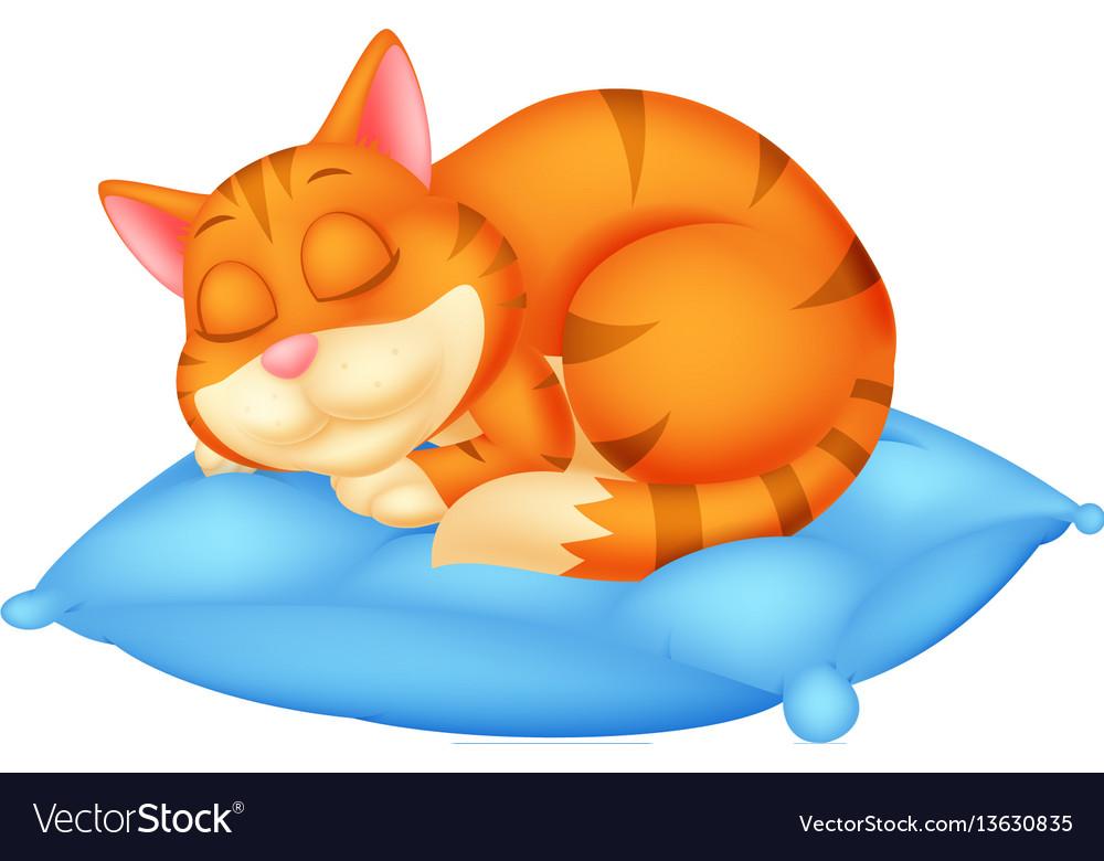 Cute cat cartoon sleeping