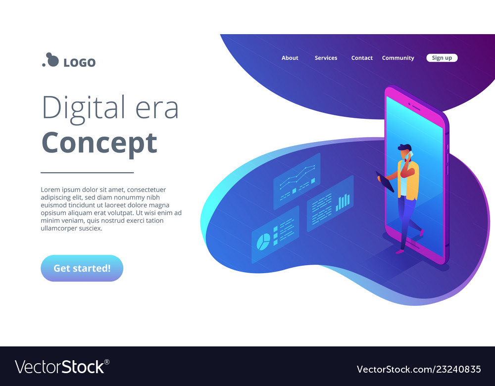 Data insight isometric 3d landing page