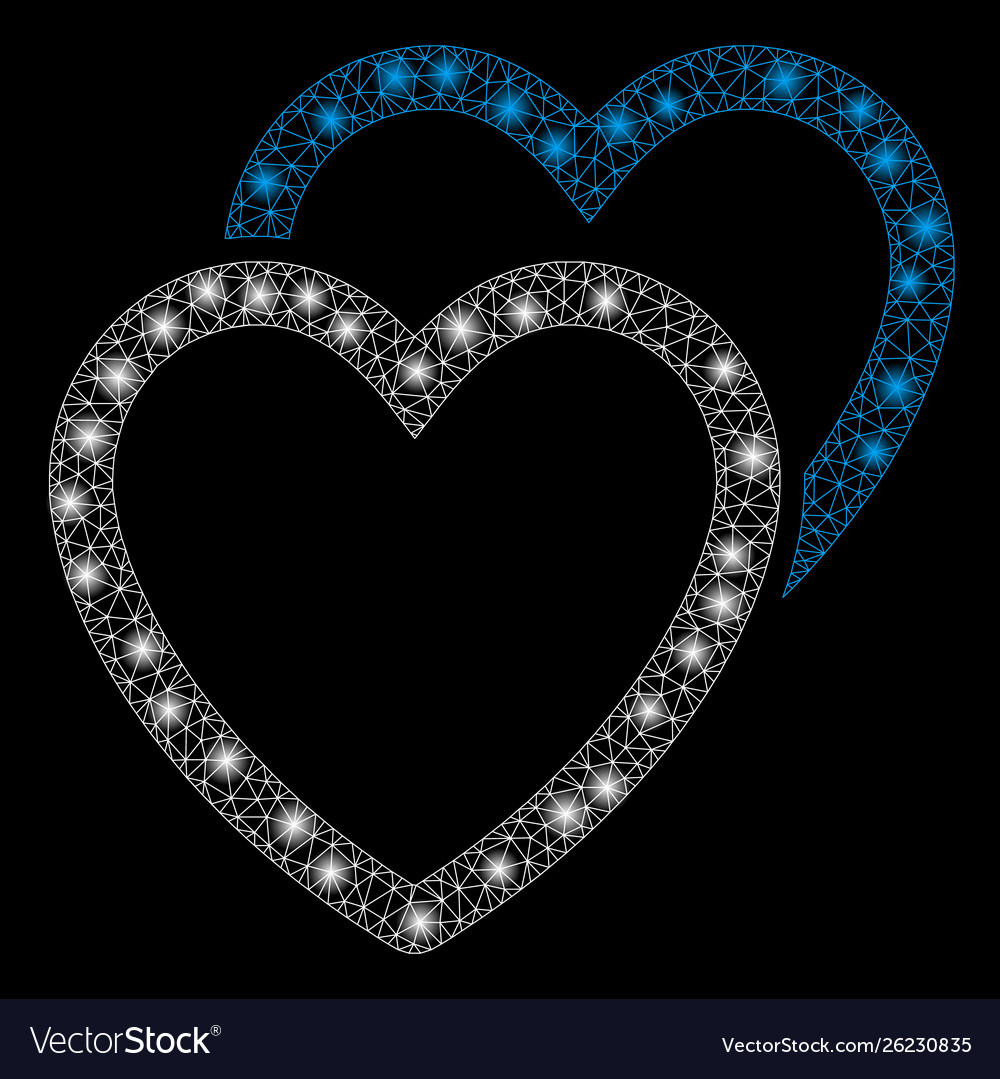 Flare mesh 2d love hearts with flare spots vector image