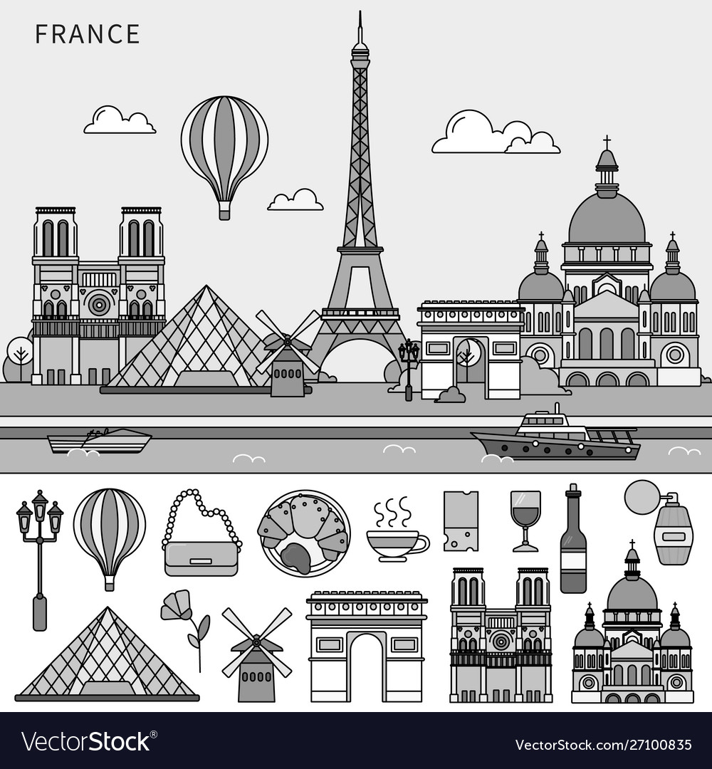 French symbols and french sights flat line line