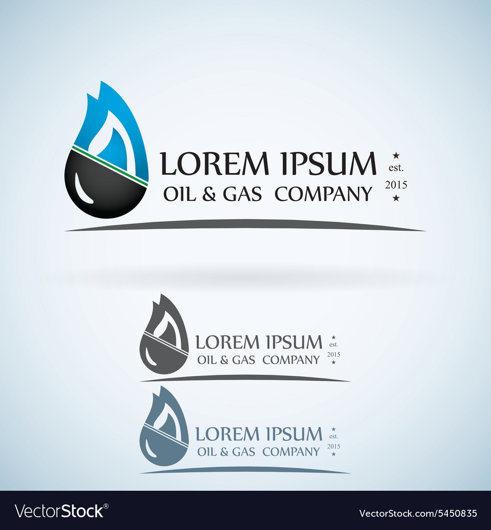 OIl gas company logo design template color set