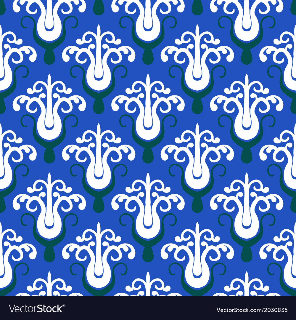 Pattern with stylized trees on blue