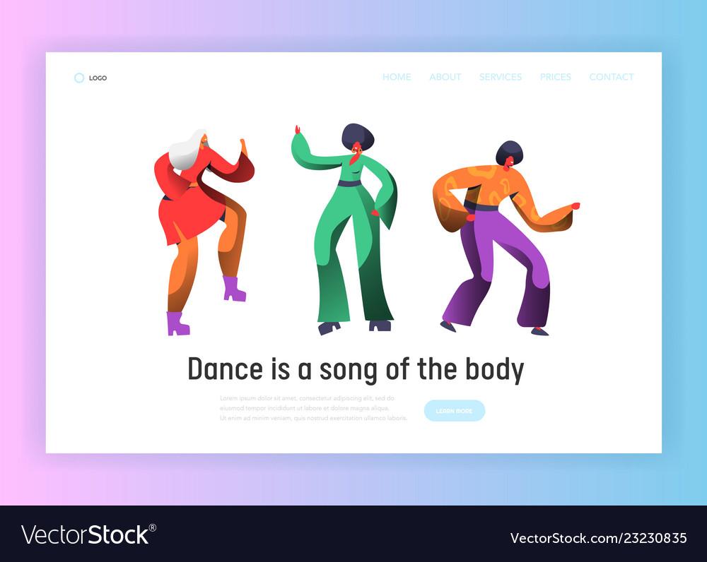 Retro dancer character dance landing page