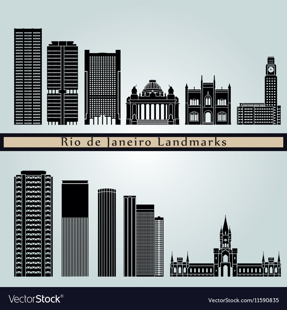 Rio de Janeiro V2 landmarks and monuments vector image