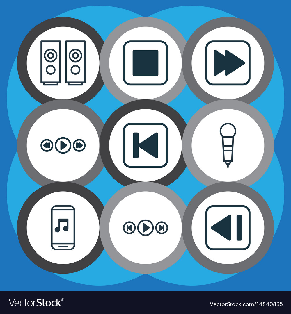 Set of 9 audio icons includes run song back