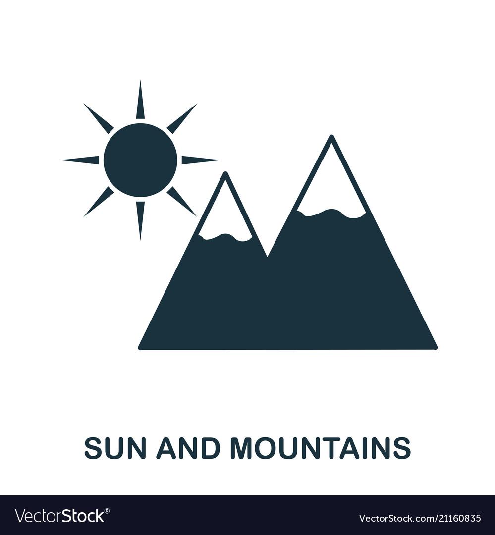 Sun and mountains icon mobile app printing web
