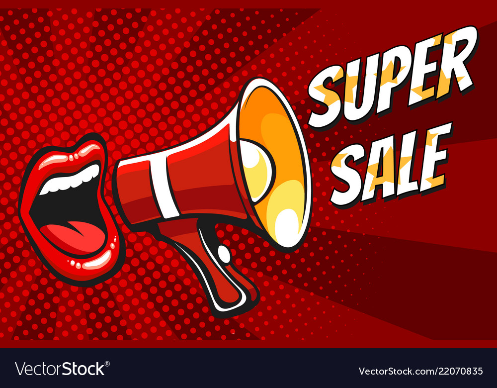 Super sale banner with open mouth and megaphone