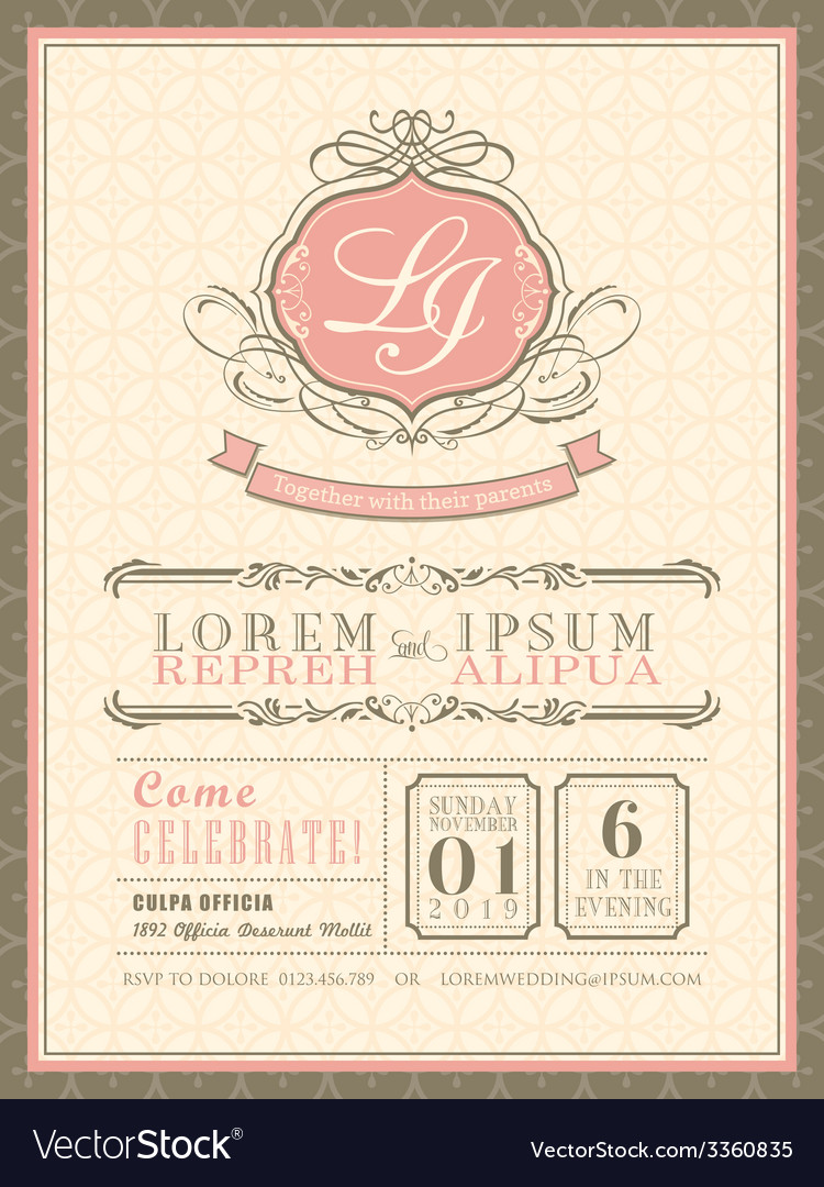 Vintage pastel Wedding Invitation border and frame