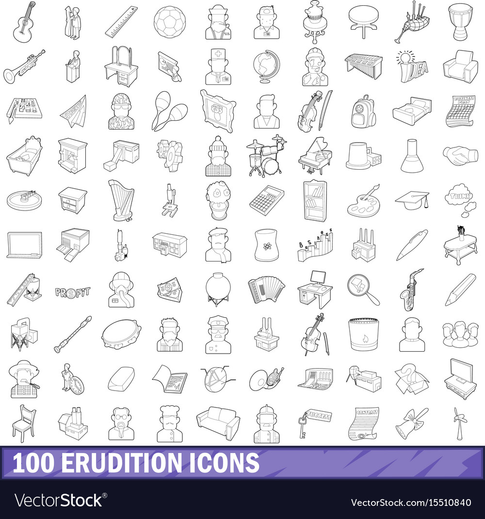 100 erudition icons set outline style