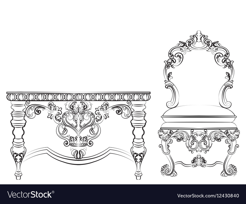 Baroque Imperial style furniture vector image