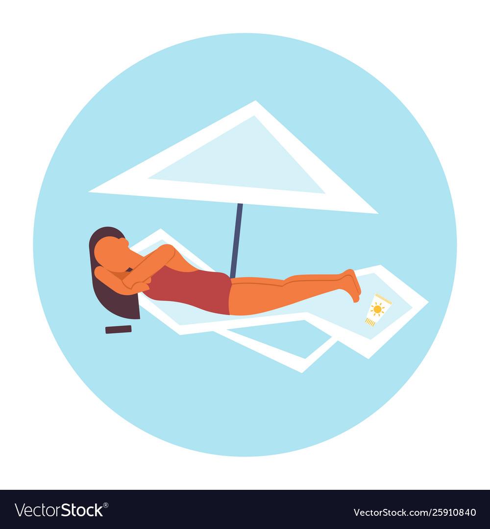Bikini woman sunbathing girl in swimsuit lying on